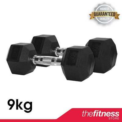 CoreX Fitness Weightlifting 9kg Rubber Hex Dumbbells (Pair) FAST FREE DELIVERY