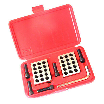 "Pair Precision 1-2-3 Blocks 0.0001"" 23 Holes Machinist with Case Easy to Use"