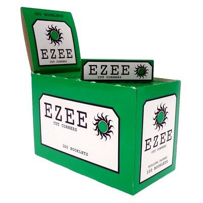 Ezee Green Cigarette Rizla Smoking Cut Corner Rolling Papers-BOX of 100 BOOKLETS