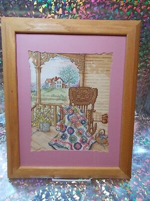 Cross-stitch handmade of country porch framed & matted beautifully done