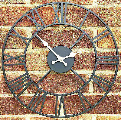Large Outdoor Garden Wall Clock Big Roman Numerals Giant Open Face Metal 40 Cm