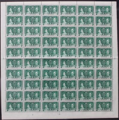 BAHAMAS: 1937 Full 10 x 6 Sheet ½d Coronation Examples - Full Margins (20086)