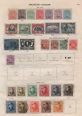 BELGIUM: 1915-1927 Examples - Ex-Old Time Collection - 2 Sides of Page (20260)