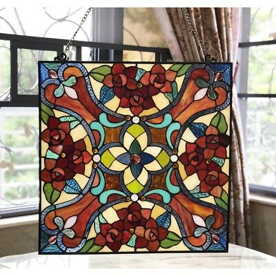 """Victorian Tiffany Style Stained Glass Window Panel 20"""" W x 20"""" H Handcrafted"""