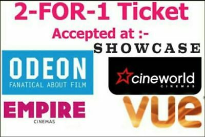 2 for 1 Cinema Tickets Code for Tuesday 01/01/2019 or Wednesday 02/01/2019