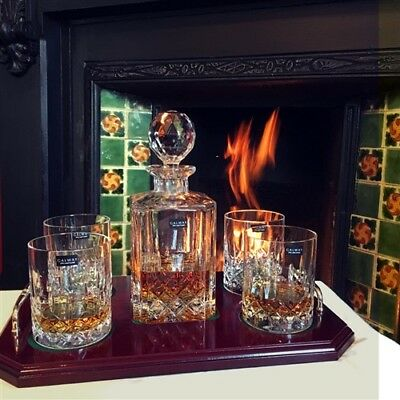 Galway Crystal Longford Whiskey Decanter Set, 4 DOF Tumblers & Wooden Tray