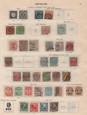 DENMARK: 1854-1913 Examples - Ex-Old Time Collection - 2 Sides Page (20565)