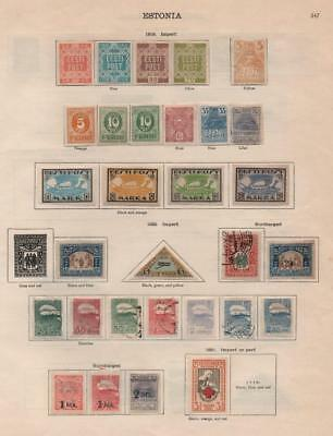 ESTONIA: 1919-1924 Examples - Ex-Old Time Collection - 2 Sides of Page (20577)