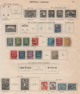 ESTONIA: 1928-1936 Examples - Ex-Old Time Collection - 2 Sides of Page (20578)