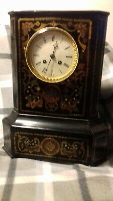 Antique French Late 19th Century Ebonised Boulle  Clock mantle brass inlay