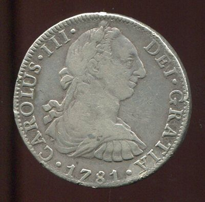** MEXICO 1781 Mo F.F , 8 REALES SILVER...COLONIAL **