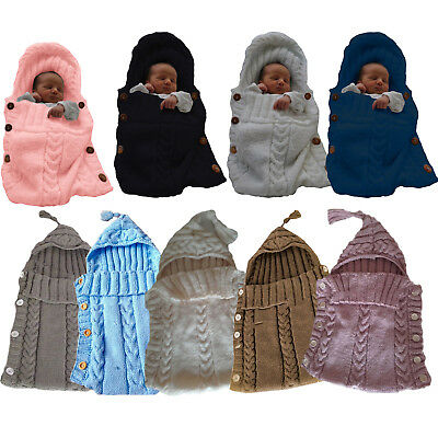 Newborn Baby Boy Girl Knit Crochet Swaddle Wrap Warm Sleeping Bag Blanket Winter