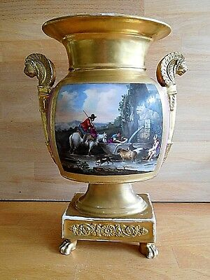 Early 19Th Century French Empire Vase With Lion Head Handles And Painted Scene