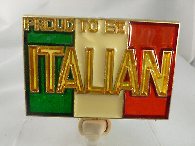 """Stained Glass Style """" Proud To Be An Italian """"  Night Light"""