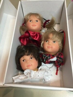 GOTZ  DOLL Head Set Of 3 Hanging Ornaments. New In Box. Rare.