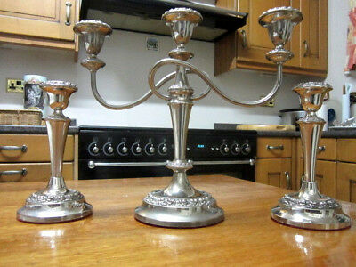Old Antique Silver Plate Regency Style Candelabra with 2 Matching Candlesticks