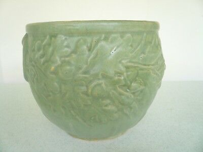 ANTIQUE 7.5 diam MCCOY ACORNS & OAK LEAVES MATTE GREEN JARDINIERE PLANTER