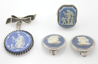 Lot Of 4 Wedgwood Ring, Clip On Earrings, And Pin - No Reserve #3617-7