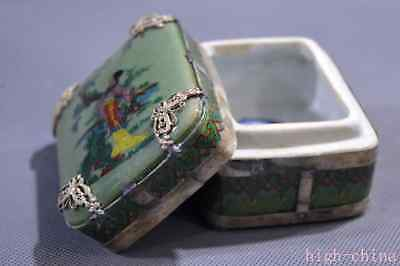 Collectable Porcelain Armor Miao Silver Carve Dragon Belle Use Ancient Spice box