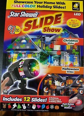 Star Shower LED Slide Show Projector With 12 Holiday Slides OPEN BOX