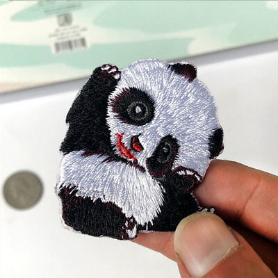 Cute Panda Badge Embroidery Sew On Iron On Patch Clothes Applique Cartoon DIY
