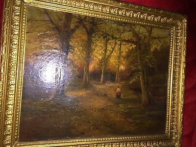 Original 19th Century Oil Painting of Woodland Scene, lady Figure Antique Framed