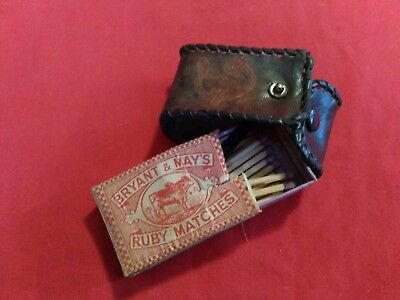 vintage Bryant & May Ruby Matchbox A Few Matches & leather vesta case