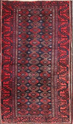 Super Deal Stunning Vintage Geometric 3x5 Wool Balouch Afghan Oriental Area Rug