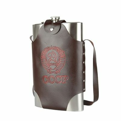 Hip Flask CCCP Large Capacity Leather Stainless Steel Alcohol Whiskey 64 Oz