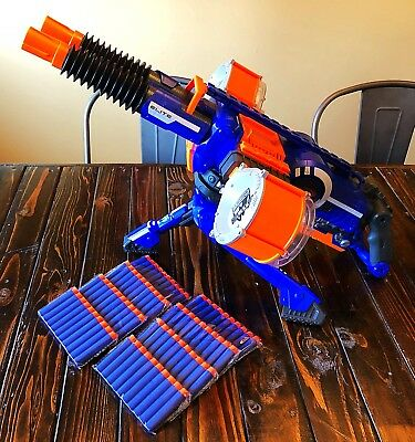 NERF Rhino-Fire N-Strike Elite Blaster Motorized RARE BLUE Edition 80 New Darts