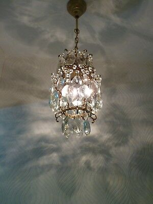 Vintage Brass and Crystal Small Old Basket Chandelier