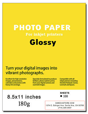 """High Quality 8.5"""" x 11"""" Professional Glossy Inkjet Photo Paper 200 Sheets"""