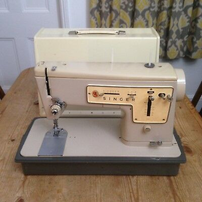 VINTAGE 40'S SINGER Model 40 ZigZag Sewing Machine Turquoise Fascinating Singer 447 Sewing Machine