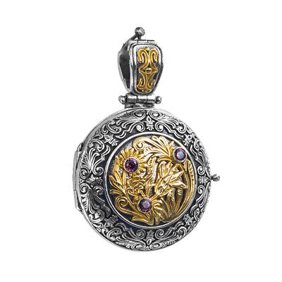 Gerochristo P3333N ~ Sterling, Gold Plated Silver Medieval Floral Locket Pendant
