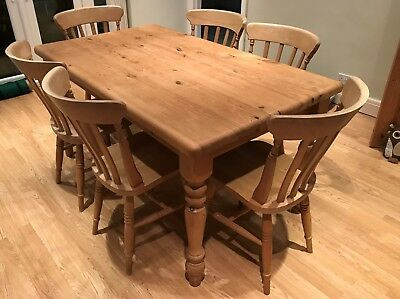 Handmade Solid Pine Farmhouse Style Table with 6 Chairs