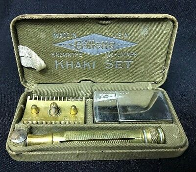 WORLD WAR 1 *** GILLETTE *** KHAKI SET *** Military *** SAFETY RAZOR