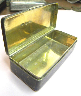 Fine 1852 Imperial Russian 84 Silver Niello Snuff Box Gold Inside Excellent