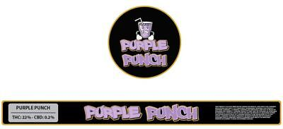 10x Purple Punch Presstin 100ml Cali Tin Labels