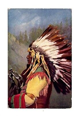 Chief  Yellow Thunder Sioux  postcard TUCK Native American Indian  2171