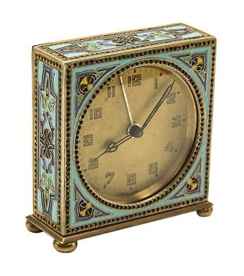 Russian Silver Enamel Small Travel Clock