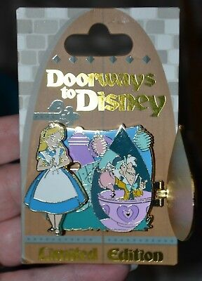 Disney Doorways To Disney Alice & Mad Hatter Pin Le 4000 New On Card