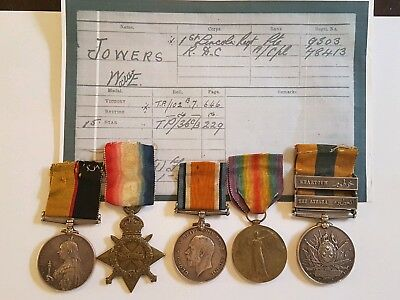 Sudan Khedive's pair & WW1 TRIO Group of 5 medals to PTE JOWERS LINCS REGT