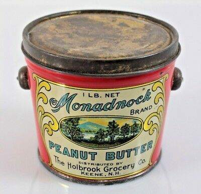 VINTAGE Monadnock Peanut Butter 1lb Tin Can Pail The Holbrook Grocery Co