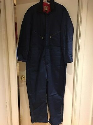 Vintage Walls Blizzard Pruf Navy Cotton Blend Insulated Coverall 2XL 50-52 USA