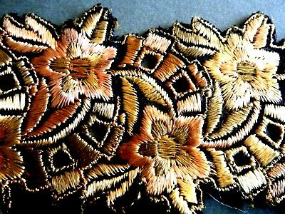 Antique Brocade Ribbon silk emb/ry pastel colors dominated gold on black France