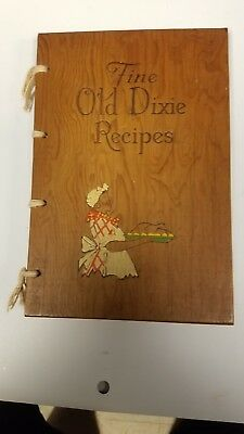 Vintage Fine Old Dixie 322 Recipes Black Americana Cook Book W/ Wood Cover