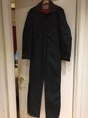 Vintage Walls Blizzard Pruf Dark Green Cotton Blend Insulated Coverall M USA