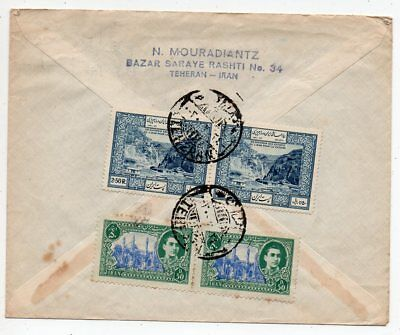 1950 Persia To Great Britain Airmail Cover, Superb Stamps, Mixed Issues