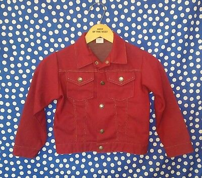 Vintage 1970's kid's maroon red denim jacket western cowboy toddler's 3T youth