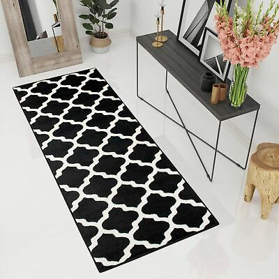 New Extra Long Wide Narrow Hallway Runner Rugs In Black White Trellis Pattern